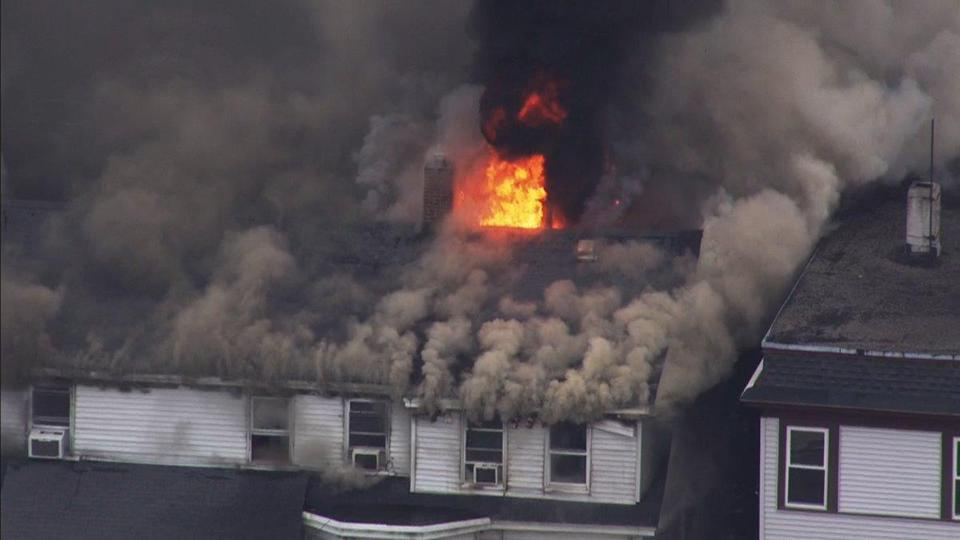 A home burning in Lawrence.